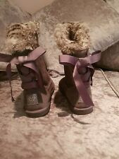 Next Grey Ug Style Faux Suede Fur Trimmed Snow Winter Boots Slippers Size 4