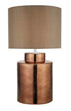 Design LED Lampe Bronze Keramik Stoffschirm braun H63cm Tischlampe Nachtlampe