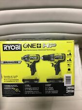 "New Ryobi ONE Plus HP 18V Brushless Cordless Compact 1/2"" Drill&Impact Driver..."