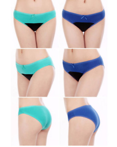 Underwear Cotton and Bow Ladies Brief Stock Women Panty (Sky Blue) - Large