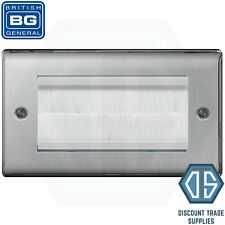 BG Brushed Steel Satin Chrome Double 2 Gang Brush Cable Entry Wall Plate NBSEMR4
