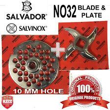 Salvador No32, 10mm Mincer Grinding Plate and Mincer blade Knife. 100% Genuine.