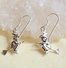 Flying Witch Double Sided Sterling Silver Drop Dangly Hook Earrings Wicca Pagan