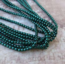 Strand of 150 Faux Pearl Beads Mini Glass Pearls Deep Emerald 2mm PRL02-70057