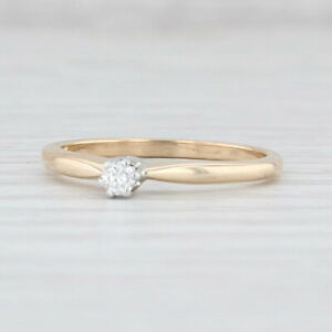 Vintage Diamond Solitaire Engagement Ring 14k Gold Size 6.25 Round Brilliant
