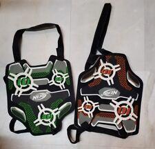 2 NERF Dart Tag Chest Shield Vest w Strap Orange and Green Lot 2 (m-e)