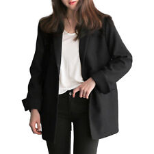 WOMENS LONG COLLAR BLAZER SUIT JACKET LADIES SOLID SLIM COAT CARDIGAN OUTWEAR