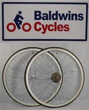 "27"" x 1 1/4 PAIR Bike Wheels + Premium White Wall Tyre's & 6 Speed Freewheel"