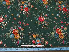 """3-2/3 YDS GREEN RED FLORAL ALL COTTON FABRIC 43"""" JOAN KESSLER CONCORD less corne"""