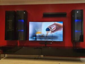 6 Piece Modern Modular Living Room Furniture Wall / TV Units Push-Click Hi Gloss