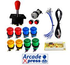Kit Joystick Arcade x1 Spanish rojo 11 botones Retropie Usb 1 player Bartop