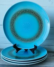 "Vtg Syracuse China Carefree Calypso Aruba Set /4 10"" Dinner Plate ~ Turquoise"
