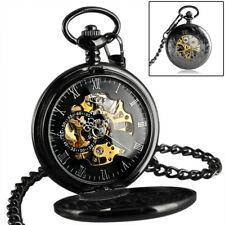 Mechanical Skeleton Steampunk Pocket Watch Black Vintage Chain Mens Wind Up New