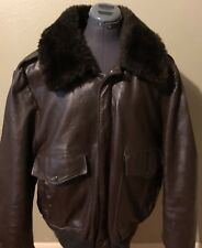 Excelled G1 Flight Bomber Leather Jacket Shearling Faux Fur Collar Brown 50 R