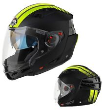 CASCO MOTO MODULARE CROSSOVER AIROH EXECUTIVE STRIPES BLACK GIALLO MATT TG M