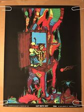 East Meets West Original Vintage Blacklight Poster 1970 Houston Psychedelic UV
