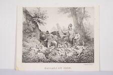Chasse à Courre Hallali du Cerf d'ap. H. VERNET Litho XIX° par DELPECH