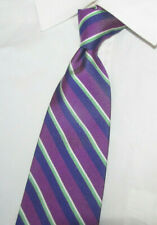 Brooks Brothers Purple with White Green & Blue Stripes Woven Silk Tie 60X 4