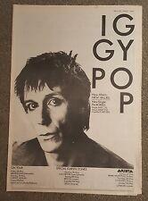 Iggy Pop New Values Tour  1979 press advert Full page 30 x 42 cm mini poster