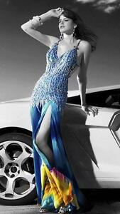 NWT Mac Duggal pageant prom social occasion party dress Blue/floral 4