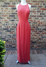 BEAUTIFUL SCALA SEQUIN BEADED EVENING WEDDING GOWN PINK DRESS SIZE L