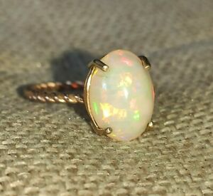 Natural 3.5ct solid white rainbow Fire Opal ring 9ct rose & yellow gold