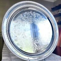 Beautiful Large Antique William Rogers Reticulated Silverplate Tray 172