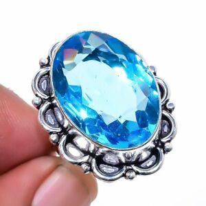 Blue Topaz Gemstone 925 Sterling Silver Jewelry Ring s.7 LR-389