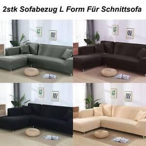 2stk Sofabezug stretch elastische Sofahusse Abdeckung Für L Form Schnittsofa #Gr