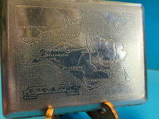 Old Collectible Kincraft Vtg Pocket Cigarette Case Wallet Map Of Isle Of Wright