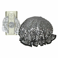 SEQUINNED SHOWER CAP/ BATH HAT - WHITE or BLACK WITH SEQUINS -BATHTIME BLING