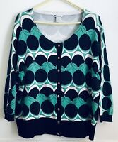Nygard Collection Plus Size 2X Womens Summer Cardigan Geometric Pattern Snap Up