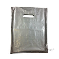"""200 Silver Plastic Carrier Bags 15""""x18""""+3"""" Gift Party Shop Carry Patch Handle"""