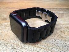 Nogal Oscuro Madera Pulsera de eslabones Mariposa Cerradura reloj banda correa Apple Reloj 42mm