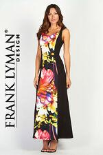 Frank Lyman Maxi Dress Knit Jersey Sleeveless Black/Multi Color $270 56490 4 NWT