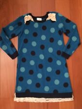 Hanna Andersson Girls Size 130 Us 8 Blue Red Polka Dot Sweater Dress Lace Bottom