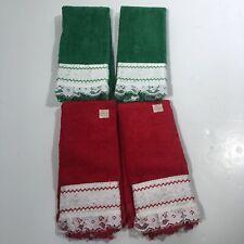 Vintage Cannon Lot Hand Finger Tea Towel embellished lace trim Red Green Set New