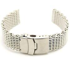 Silver 22mm Width Stainless Steel Mesh Wrist Watch Band Strap Clasp Bracelet Men
