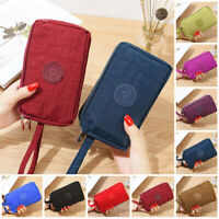 Women Solid 3 Layer Canvas Coin Purse Card Zipper Wallet Holder Phone Bag Gift