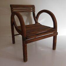 Chaise fauteuil enfant fait main tek marron vintage 1950 art déco France N4154