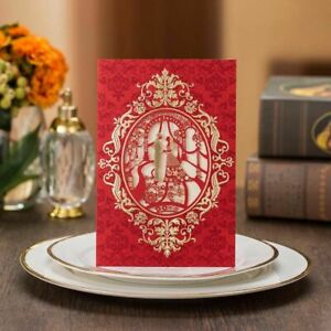 Folding Type Laser Cutting Wedding Invitations Floral Designs Party Supplies New