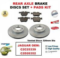 FOR JAGUAR OEM: C2C25339 C2D26352 REAR AXLE BRAKE PADS + DISCS SET 326mm Vented