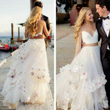 Two Piece Wedding Dresses V-Neck Tulle With Flower Beach Bridal Gowns 3D Flowers
