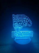 Personalised Children's Kids Eat Sleep Game LED Colour Change Night Light