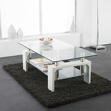 Modern White Rectangle Clear Glass Chrome Living Room Coffee Table Lower Shelf