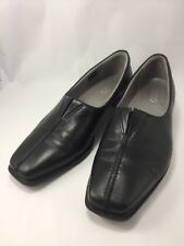 ECCO WOMENS SZ 37 US 7.5-8 BLACK LEATHER SLIP ON LOAFERS PUMPS