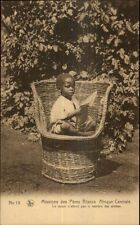 Cute Black Child in Sedan Chair - Missions Peres Blancs Central Africa Pc