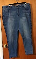 NEW WOMANS RUFF HEWN SKINNY JEANS WITH EMBROIDERY ON SIDES OF LEGS-24W