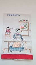 Two Hand-Embroidered Antique Flour Sack Kitchen Tea Towels from 1930's  Mon-Tues