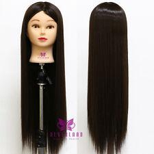 """26"""" Pro 100% #4 Tête À Coiffer Long Cheveux Coiffure Mannequin Doll + Clamp"""